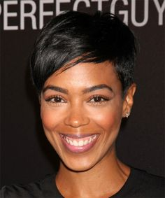 Jazmyn Simon Short Straight Casual Pixie Hairstyle with Side Swept Bangs Prom Hairstyles For Short Hair, Side Swept Hairstyles, Casual Hairstyles, Pixie Hairstyles, Easy Hairstyles, Straight Hairstyles, Haircuts, Short Straight Hair, Short Hair Cuts