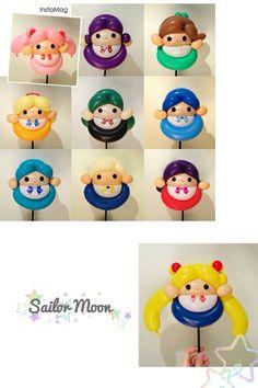Cute i guess Balloon Toys, Balloon Cartoon, Balloon Hat, Balloon Crafts, Mini Balloons, Balloon Decorations, Sailor Moon Birthday, Sailor Moon Party, Sailor Moon Cakes