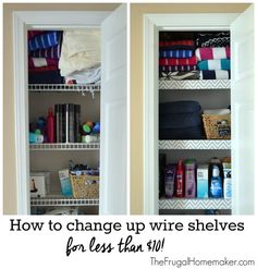 How to change up wire shelves for less than $10 with foam board and contact paper
