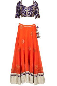 Royal blue embroidered blouse with orange banarasi net lehenga available only at Pernia's Pop-Up Shop. #amritathakur #designer #collection #lehenga #ethnic #indian #shop #buy #wear #collection #fashion #style