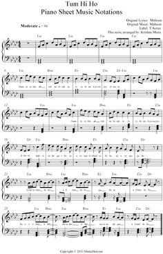 Latest Hits - MusicHorizon - Tum Hi Ho - Sheet Music Notation Keyboard Sheet Music, Violin Sheet Music, Song Sheet, Sheet Music Book, Piano Music, Mj Music, Music Score, Song Notes, Music Notes
