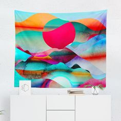 Searching for a Bright Colorful Tapestry? Shop for high quality Wall Tapestries designed by independent artists on W. Tapestry Design, Wall Tapestry, Cool Tapestries, Colorful Tapestry, Bright Walls, Watercolor Walls, Art And Technology, State Art, High Quality Images