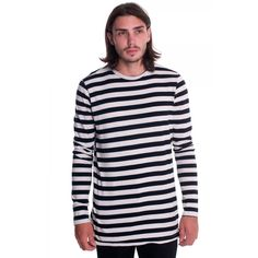 Bassike - Stripe Side Split Regular L/S T Shirt - Black