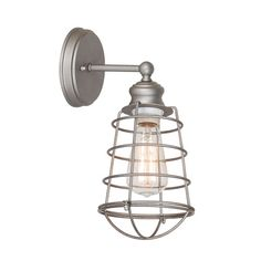 Ajax Galvanized 1 Light Bathroom Wall Sconce 1 Light Armed Candle Wall Sconces Wall Light