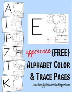 Free UPPERCASE Alphabet Color & Trace Pages  lowercase letters will be released in May 2013 at same website
