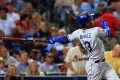 CrowdCam Hot Shot: Los Angeles Dodgers first baseman Adrian Gonzalez hits a double against the Atlanta Braves during the sixth inning of game two of the National League divisional series playoff baseball game at Turner Field. Photo by Daniel Shirey