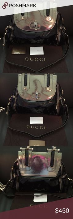 Authentic Gucci bamboo leather patent bag Authentic Gucci bamboo leather patent bag in pristine condition. Comes with dust bag and papers as shown. Bag is clean no scratches  It is beautiful. Bag is patent dark chocolate brown with metallic gold pewter. Gucci Bags Shoulder Bags
