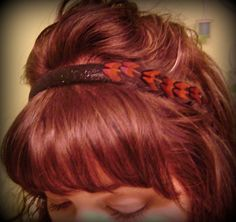Designs by Zane on facebook or www.madewithlovebyzane@gmail.com to order Black Glitter HeadBand w Pheasant Feathers(one sided) $8.00 each+shipping