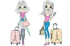 Fashion girls with suitcases by kavalenkava on @creativemarket