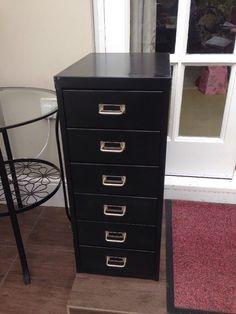 Retro Metal 6 Drawer Cabinet Black Industrial Look | eBay