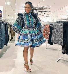 This dress only gets to stores next Thursday! Thank you for my dress as we officially open the DURBAN store and cut the ribbon today! Ghanaian Fashion, African Fashion Dresses, Fashion Outfits, African Outfits, Ankara Fashion, Fashion Clothes, African Wear, African Dress, African Style