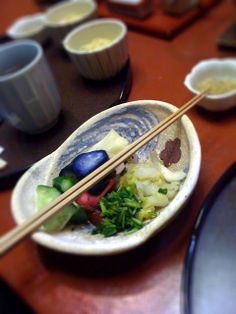 Lunch at Yagenbori in Tokyo, with delicious Yudofu, rice and pickles