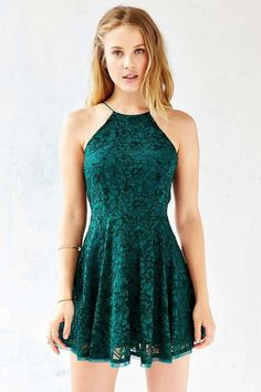 Kimchi Blue Lorraine High-Neck Fit + Flare Dress from Urban Outfitters. Shop more products from Urban Outfitters on Wanelo. Hoco Dresses, Dance Dresses, Pretty Dresses, Homecoming Dresses, Beautiful Dresses, Dress Outfits, Casual Dresses, Dress Up, Summer Dresses