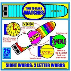 Your students will LOVE these interactive Sight Word flip book Watches! Now they can WEAR their new word home and share it with their family!  There are 25 words included; all 3-letter sight words. The students cut out the letters and paste them on the watch face to spell the word. 3 Letter Words, Sight Words, New Words, Letters, Booklet, Spelling, Watches, Learning, Kindergarten