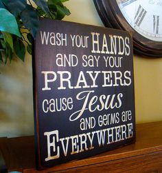 Wash Your Hands Say Your Prayers Wooden Primitive Handpainted
