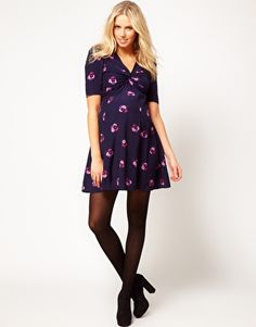Enlarge ASOS Maternity Tea Dress In Print With Twist Front
