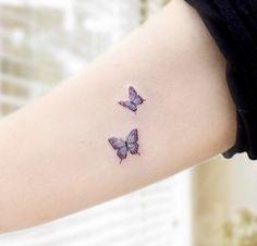 Tiny Tattoos For Girls, Cute Tiny Tattoos, Dainty Tattoos, Pretty Tattoos, Mini Tattoos, Tattoos For Women Small, Beautiful Tattoos, Small Tattoos, Purple Butterfly Tattoo