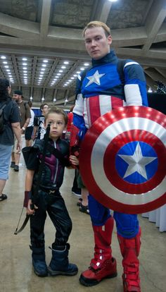 Captain America and little Hawkeye.