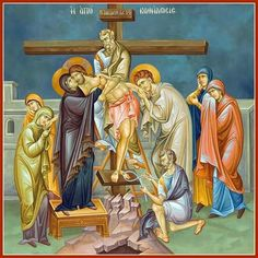 Deposition from the Cross / Holy week Orthodox Icons, Crucifixion Of Jesus, Art, Art Icon, Sacred Art