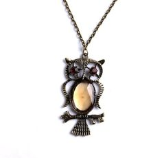 Trendy Bronze Owl with Acrylic Glass Pendant Copper-plated Metal Necklace 1pcs P1261 leegoal http://www.amazon.com/dp/B006WXSY3E/ref=cm_sw_r_pi_dp_66iRvb0MYKYDS