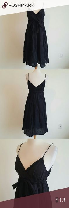 Black cotton midi dress ◾️Good condition. Tie around bust can be tied to your comfort. Size 4 metro Dresses Midi