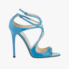 Jimmy Choo Lang patent strappy 100mm sandals in robot blue, $795, neimanmarcus.com