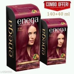 Checkout this latest Hair Color Product Name: *Enega Cream Hair Color  with Argan Oil & Green Tea Extract No Ammonia Cream Formula Smooth Care For Your Precious Hair! Burgundy(Pack Of 2,120ML+40ML)* Product Name: Enega Cream Hair Color  with Argan Oil & Green Tea Extract No Ammonia Cream Formula Smooth Care For Your Precious Hair! Burgundy(Pack Of 2,120ML+40ML) Multipack: 1 Easy Returns Available In Case Of Any Issue   Catalog Rating: ★3.9 (1398)  Catalog Name: Sensational Soothing Hair Color CatalogID_1038959 C166-SC2022 Code: 191-6520990-243