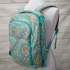 7a219ef997 Vera Bradley Totally Turq School Campus Tech Backpack Boho Large Laptop  Closure
