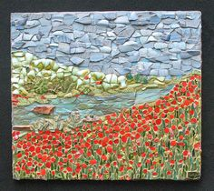 Poppy Field. Mosaic made from broken pottery and glass. Or use your mosaic painting idea to do something similar!
