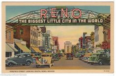 Reno Nevada Vintage Linen Postcard Virginia Street View