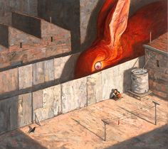 """redlipstickresurrected: """" Shaun Tan (Chinese-Australian, b. Perth, Australia) - Never Leave A Red Sock On The Clothesline from Shaun Tan's 2013 book Rules of Summer, 2012 Paintings: Oil on. Shaun Tan, Creepy, Summer Books, Wow Art, Magritte, Clothes Line, Children's Book Illustration, Storyboard, Fine Art Paper"""