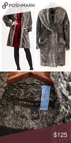 🚫Sold🚫Cynthia Steffe faux fur gray coat 6 Faux fur coat by Cynthia Steffe from Nordstrom. Good used condition, 100% polyester faux fur coat. Outside is in great condition, inside has a tiny bit of piling but noticeable. Size 6 (medium) Nordstrom Jackets & Coats Trench Coats