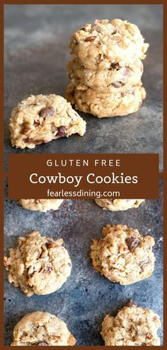 You are going to want to make a double batch of these delicious gluten free cowboy cookies because they will disappear quickly. Filled with oats chocolate chips coconut and more these popular chocolate chip cookies are great for bake sales! Cookies Sans Gluten, Dessert Sans Gluten, Gluten Free Sweets, Gluten Free Baking, Oatmeal Cookies Gluten Free, Gluten Dairy Free, Gf Recipes, Dairy Free Recipes, Cookie Recipes