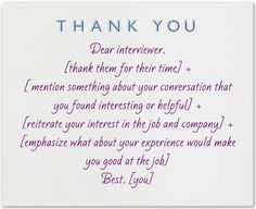 thank you notes after a job interview
