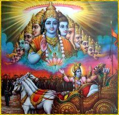 "☀ SHRI KRISHNA & ARJUNA ☀ Shri Krishna said: ""O Arjuna, as the Supreme Personality of Godhead, I know everything that has happened in the past, all that is happening in the present, and all things that are yet to come. I also know all living. Hanuman Images, Lord Krishna Images, Shree Krishna, Krishna Art, Radhe Krishna, Bhagavata Purana, Shiva Lord Wallpapers, Kali Goddess, Ganesha Art"