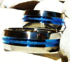 Thin Blue Line Tattoo | Matching Thin Blue line Titanium Wedding Bands - stb16- Polished