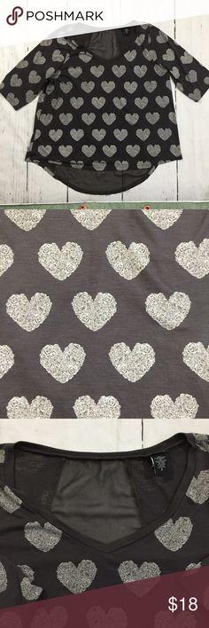Torrid Heart Shirt with Sheer Panel • Torrid Heart Shirt with Sheer Panel Gray  • Elbow length sleeves  • Heart design made up of roses • Size 2 - bust 48, length front 27, length back 31, sleeve 17 • Polyester Rayon blend  • Nonsmoking home torrid Tops