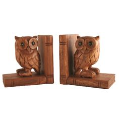 carved owl bookends