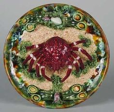 Majolica Rooster Dish: