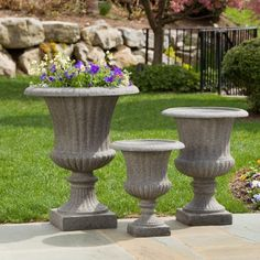 Alfresco Home Scanalata Urn Planter - Pietra