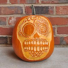 Day Of The Dead Pumpkin Carving Patterns Carvings Sugar Skull