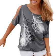 Femmes d'été Plume Imprimé T-shirts O-cou Sans Bretelles Chemises Encolure à manches Courtes T-shirt Lâche Type(China (Mainland))