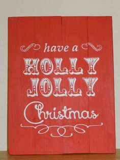 Reclaimed Pallet Wood Holly Jolly Christmas Sign Red and White Retro Holly Christmas, Christmas Signs, Pallet Wood, Wood Pallets, Holly Holly, Red And White, Neon Signs, Etsy Shop, Handmade Gifts