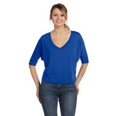 Ladies V-neck half-sleeve T-shirt.  This pop versatile cropped V-neck tee can be worn layered or alone to accentuate its flowy look and perfect drape.