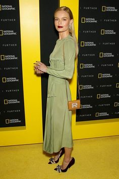 Kate Bosworth in a pale green midfielder dress with a dark red lip and a small small handbag and pointy pumps at the National Geographic's Further Front Event, New York. Kirsten Dunst, Celebrity Dresses, Celebrity Style, Audrey Hepburn, Kate Bosworth Style, Krysten Ritter, Celebrity Halloween Costumes, Dior, Carpet Styles