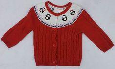 Gymboree Winter Penguin Red Long Sleeve Penguin Cardigan Sweater Sz 6-12 MON NWT #Gymboree #Cardigan #DressyEverydayHoliday