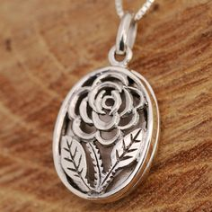 925 Sterling Silver Filigree Rose Flower Round Locket Chain Necklace