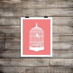 Pink Print, Coral Printable, Birdcage Print, Baby Girl Nursery Decor, Nursery Wall Art, PetrichorBlue on etsy.com $5