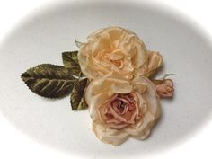 Handmade fabric rose, cream rose, light brown rose, romantic rose, head bands, pins, victorian rose, flower girl, wedding, bridal