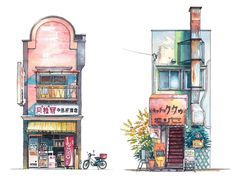 Beautiful And Charming Illustrations Of Storefronts From Tokyo - DesignTAXI.com